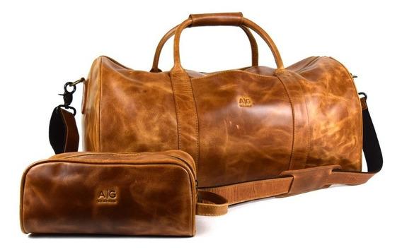 Maleta Duffel Grande 100% Piel Estuche Incluido Ag Leather