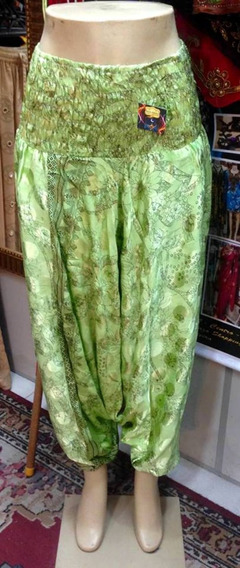 Calça Alladin 2 Em 1, Em Seda, Verde Com Estampa De Flores