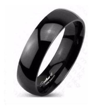 Anillo De Titanio Negro Diseño Argolla De Matrimonio Liso