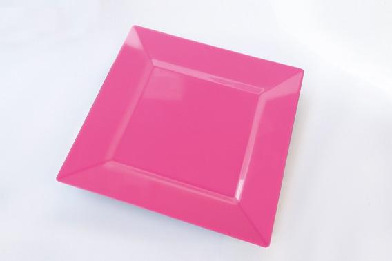 Plato Cuadrado De Postre 16x16 Plastico Rigido X18 Cumple