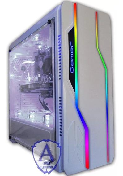 Gabinete Gamer Blue Case Bg 009 Branco Rgb Sem Fans