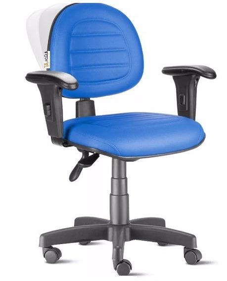 Cadeira Ergonômica Nr17 Back System Com Braços Azul Gomada