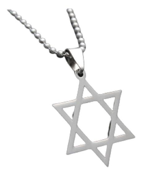 Colar Estrela De David Judaica Hexagrama Cordão Corrente