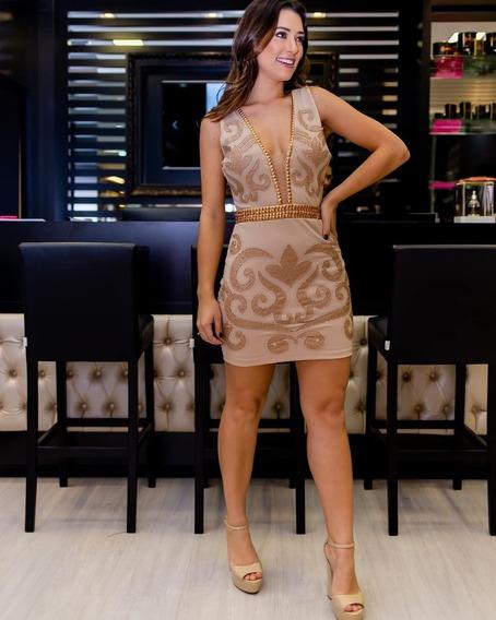 Vestido Justo De Crepe C/ Bordado Manual_avizo Wear