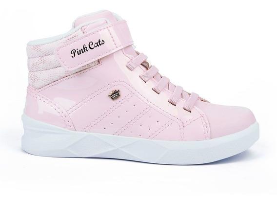 Tenis Botinha Cano Alto Infantil Menina Pink Cats
