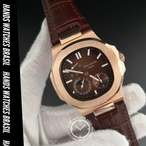 Relógio De Pulso Rose Couro