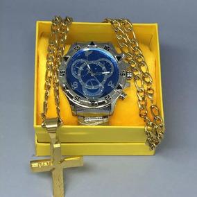 Relógio Barato Masculino Prata Dourado +corrente+caixa !!