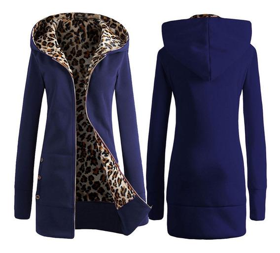 Abrigo Con Capucha Grueso De Leopardo De Invierno Para Mujer