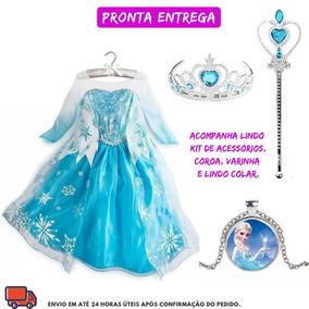 Vestido Da Frozen Elsa Princesa Disney + Lindos Brindes