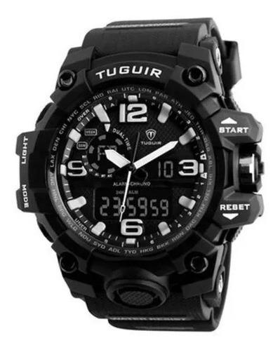 Relógio Masculino Tuguir Analógico Tg1155 Preto E Branco