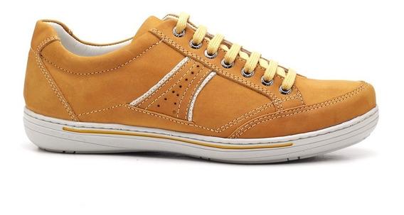Sapato Sapatênis Masculino Casual Couro Mostarda Ranster3013