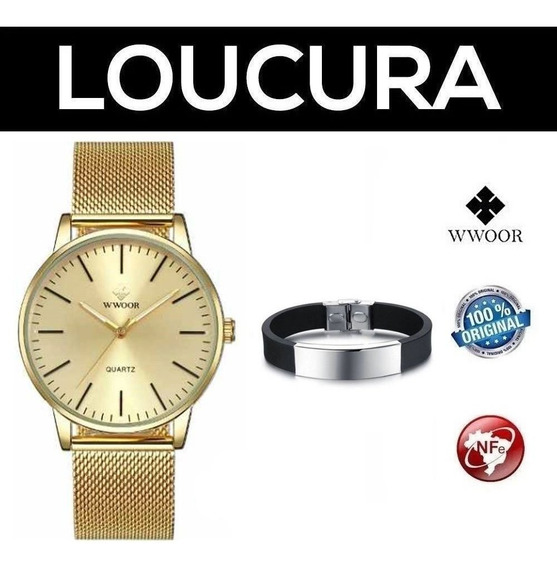 Relógio De Pulso Wwoor Clássico De Luxo + Pulseira Brinde