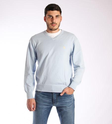 Sweater En V Hombre Celeste -  Tienda Ecuestre