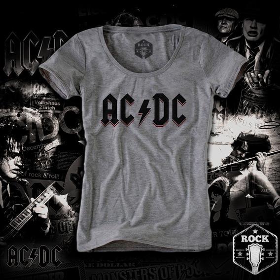 Remera Ac Dc Angus Logo Negro Y Fuego Mujer
