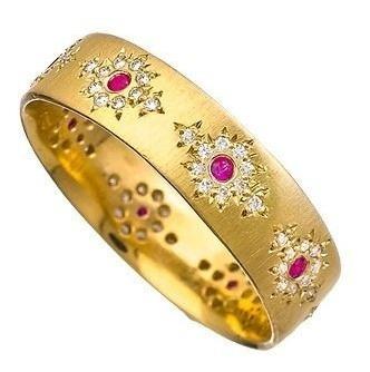 Aliança De Ouro Com Rubis E Diamantes.