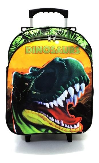 Mochila Infantil Dinossauro Rodinhas Tam M Verde F5