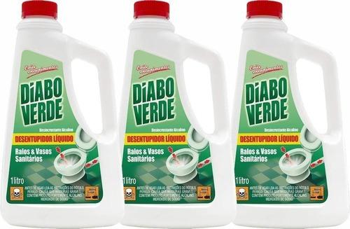 Kit 3 Desentupidor Liquido De Pias Ralos Vasos 1 Litro