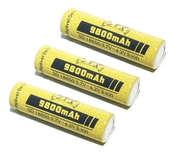 Pacote Com 3 Bateria Lítio Recarregável 18650 4.2v 9800mah