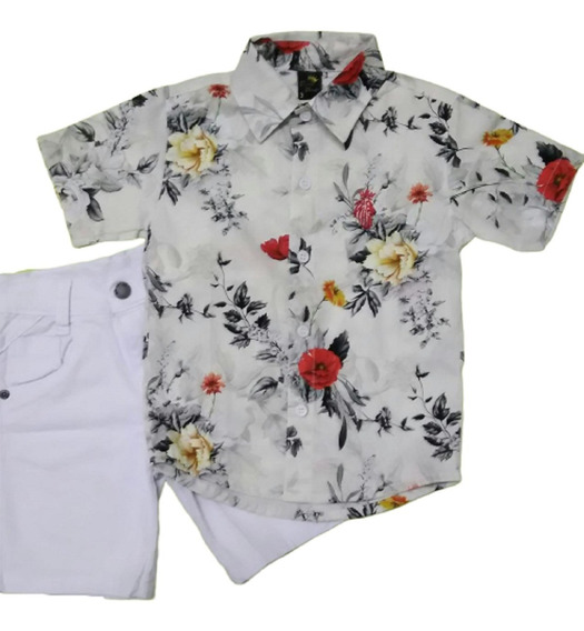 Roupa Infantil Masculina Camisa Social + Bermuda Menino 1a8