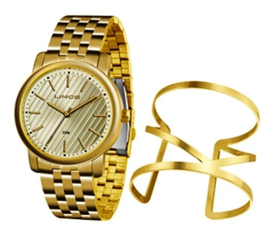 Relogio + Bracelete Feminino Lince Dourado 18k Lrg4513l
