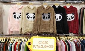 Blusa Frio Moletom Fem Bordado Panda Dois Face Capuz Pelinh