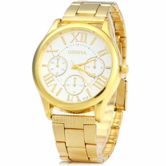 Relógio De Quartzo De Caixa Dourada Com Faixa De Aço..