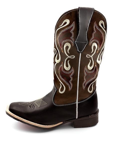 Bota Feminina Texana Montaria Country Couro Salto Baixo