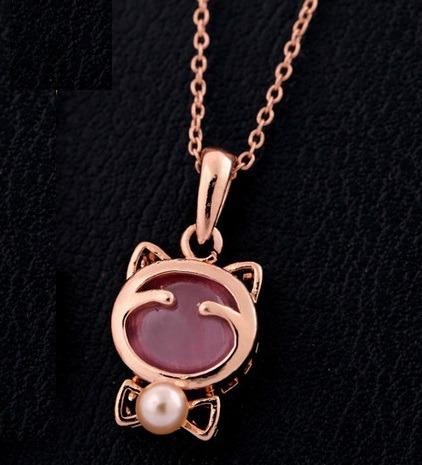 Collar Dorado Colgante Gatito Ópalo Rosa Exclusivo N-270 F