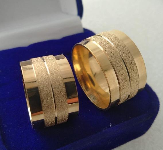 Par De Alianças 12mm +anel Solitário Em Oferta