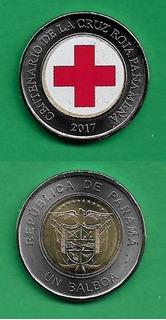 Grr-moneda Esmaltada De Panamá 1 Balboa 2017 - Cruz Roja