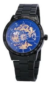Relógio Masculino Automático Esqueleto Vencedor Aço Inox