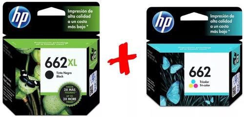 Combo Cartucho Hp 662 Xl Negro + 662 Color Standar 2515 3515