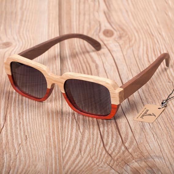 Óculos Sol De Madeira Artesanal Bobo Bird Yemen Cinza Dg02