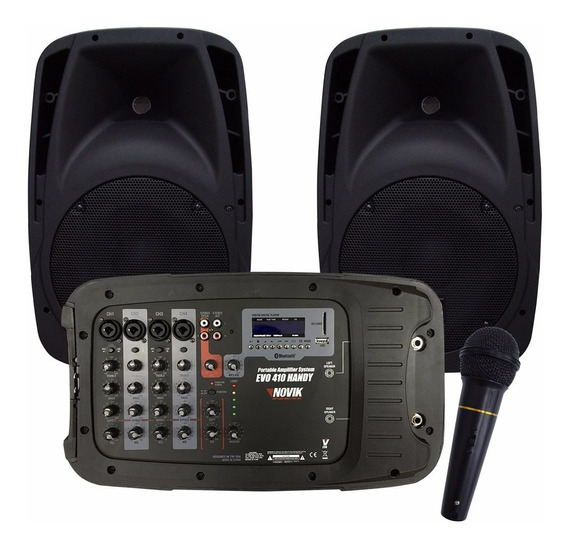 Kit Caixa De Som Novik Amplificada Evo 410 Handy Completa