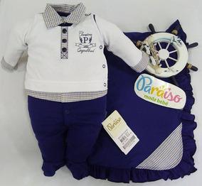 Saida De Maternidade Bebê Menino Paraiso Macacão Cod 9641