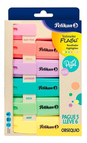Pack X 6 Resaltadores Pelikan Flash Pastel