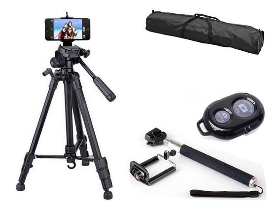 Tripé Profissional Preto Universal 1,80m + Kit Selfie + Nf
