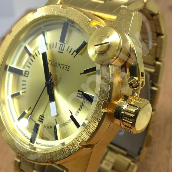 Relógio Masculino Prateado Dourado Aço Luxo Grande Atlantis