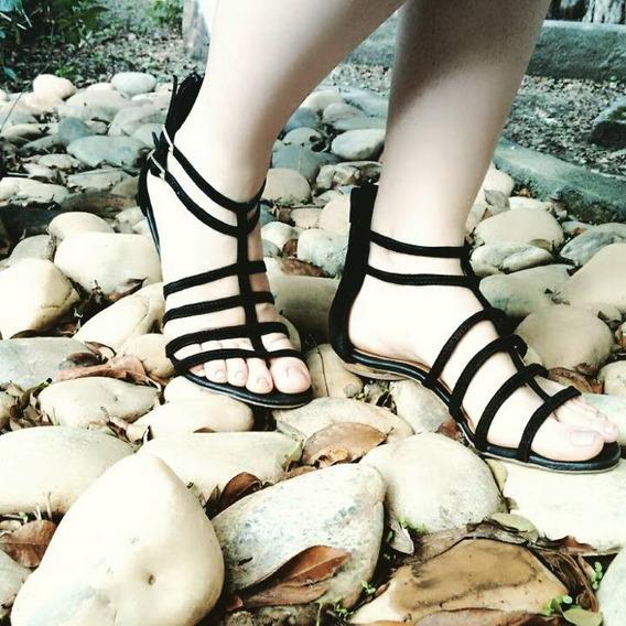 Sandália Sapato Gladiadora Feminina Norma Lopez Couro Legítimo