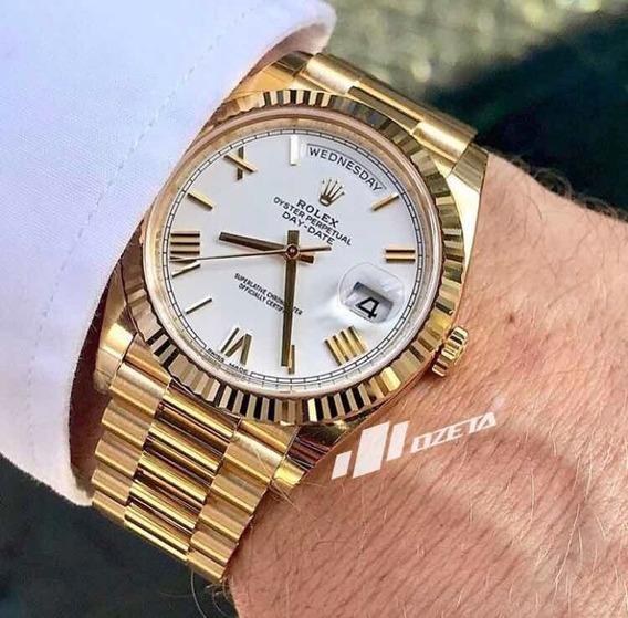Rolex Dourado Day Date Branco 40mm Automático Safira