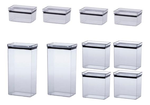 Jogo 10 Potes Herméticos Retang. 580/1300/2600ml Empilháveis