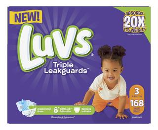 Pack De 168 Pañales Etapa 3 Para Niño Luvs, Con Triple