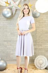 Vestido Rodado Midi Com Cinto Moda Evangélica