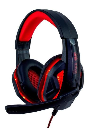 Fone de ouvido gamer Knup KP-396 preto y vermelho