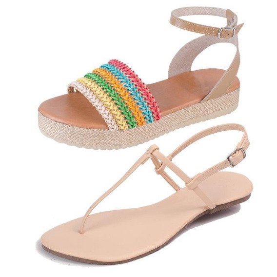 Kit 2 Pares Sandália Flat Básica E Flatform Mercedita Shoes