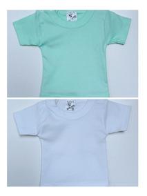 Kit 2 Camiseta Manga Curta Canelada Com Botão Bebê Tam P E M
