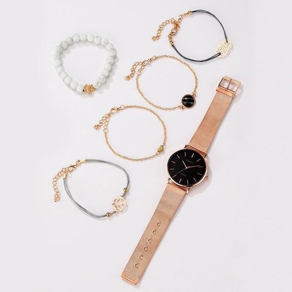 Kit Relógio Feminino Gaiety Com 5 Pulseiras