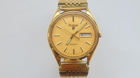 Relogio Antigo Pulsar Seiko Datedate Bracelete Plaque Ouro18