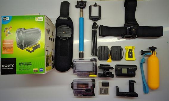 Câmera De Ação Sony Action Cam As-15 Wifi+acessórios+cartão