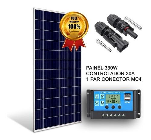 Kit Placa Solar 330w 24v Controlador Carga Motorhome Trailer